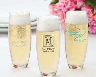 24 Stemless Printed Champagne Flutes, Personalized Wedding Favors, Set of 24 Custom Champagne Flutes