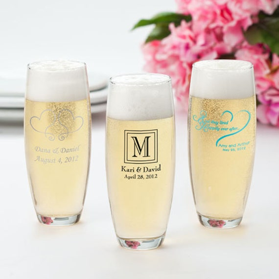24 Stemless Printed Champagne Flutes Personalized Wedding