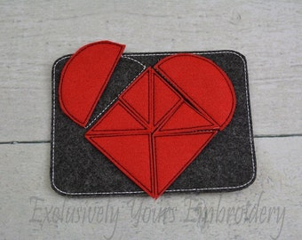 READY TO SHIP Heart Tangram Puzzle w/Storage Pouch, Quiet Game, Toddler Toy, Travel Toy, Party Favor
