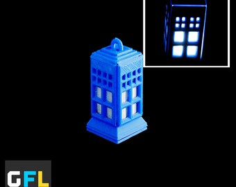 Tiny Tardis - Glowing 3D printed LED pendant