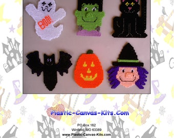 Halloween Magnets-Witch, Ghost, Cat, bat-Plastic Canvas Pattern-PDF Download