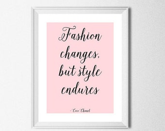 "Coco Chanel quote ""Fashion changes, but style endures.."" Printable Poster Digital Fashion Quote Chanel Art Chanel Print Chanel Poster"