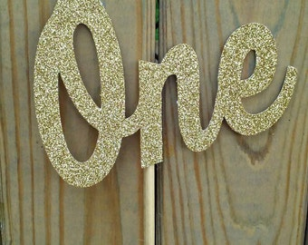 Gold Glitter Number Cake Topper - party supplies - cake decorations - photo prop
