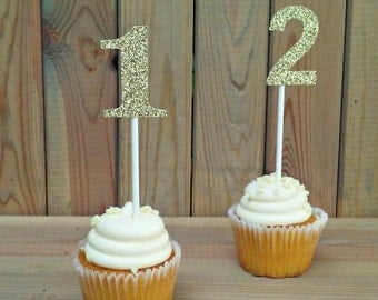 Glitter Number Cupcake Toppers - party supplies - cake decorations - birthday - cake topper