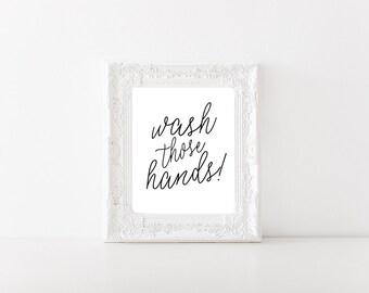 Wash Your Hands Sign, Bathroom Wall Art, Printable (216)