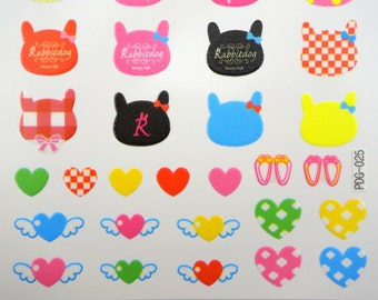 Korean Rabbitdog stickers - Pandadog & Friends - kawaii hearts with wings - emoticon face stickers - tiny hearts - cute heart - shoes