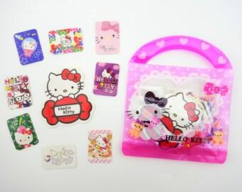 61 Kawaii Hello Kitty sticker flakes in a cute purse - Sanrio flake sticker - white kitty - emoticon faces - cute square cat girl stickers