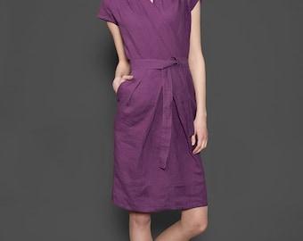 Purple linen dress, purple dress for summer, women dresses, linen clothing for woman, linen clothes, summer dresses, linen dress, casual
