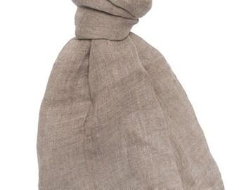 Natural linen scarf, taupe, organic, 100 % linen scarf, gray scarf, beige, summer scarf, summer shawl, women scarf, linen shawl
