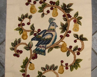 Vintage Partridge In A Pear Tree Punch Needle Embroidery Wall Hanging | Vintage Christmas