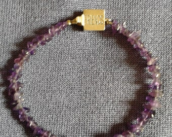 "Amethyst Bracelet with Sterling ""Friends"" Clasp"