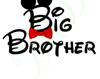 Big Brother Mickey with Bow Tie Iron On - - Digital Download - You Print