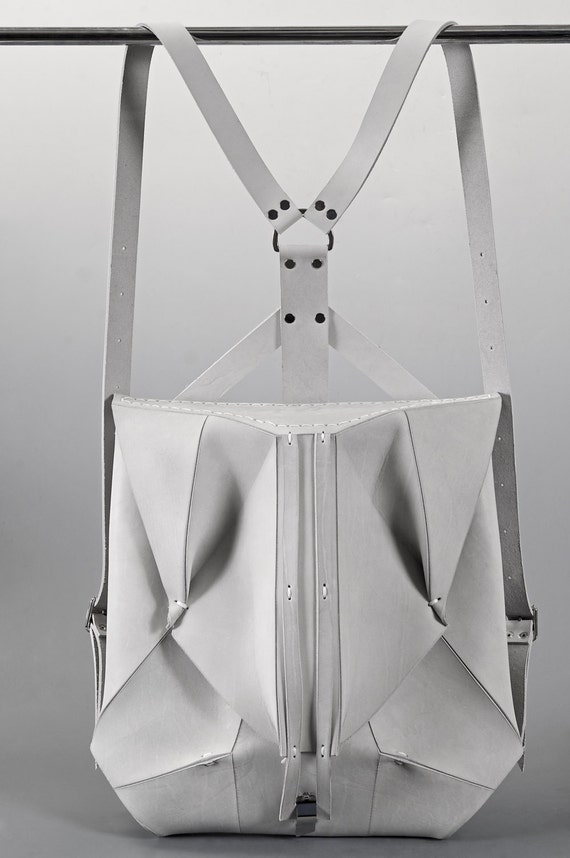 White Leather Backpack ORBIO VIA