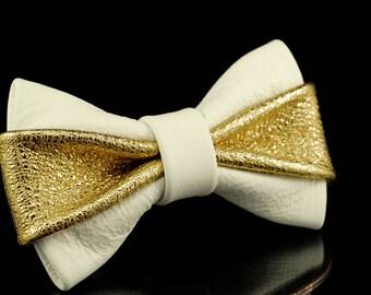 White & Gold Bow Tie
