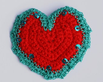 Scarlet Heart Brooch: A striking crocheted and beaded brooch, in Scarlet Red and Turquoise, to offset any outfit and create a focal point