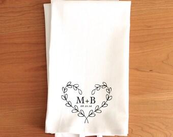 Personalized Wedding Tea Towel // Personalized Engagement Tea Towel // Custom Tea Towel // Heart Wreath Tea Towel //  Gift for Couple