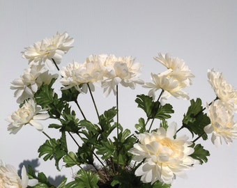 Tapscott's Silk Mum Artificial Flower Bush 12 Stem Ivory