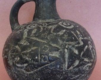 Authentic Ancient Chimu Blackware Vessel Free US Shipping Chimu Bird Vessel Museum Piece Ancient Artifact Peruvian Chimu Blackware Vessel