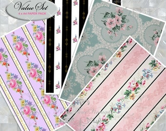 A4 Antique Wallpaper Paper 4 PACK Instant Download Set Vintage Floral Victorian Rose Craft Wrapping Paper DIY Art Paper PalaisFleurVintage