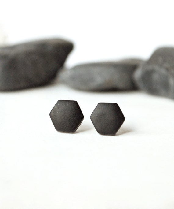 Black studs matte black earrings earrings for men uni