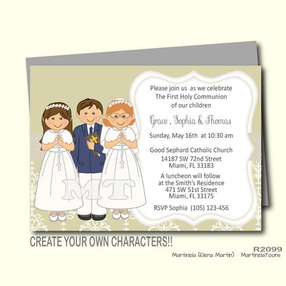 First Communion Invitations For Triplets Three Children 1st