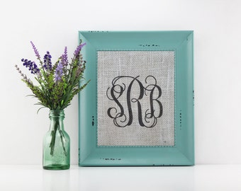 Framed burlap art, vine monogram, printed burlap, 8.5 x 11