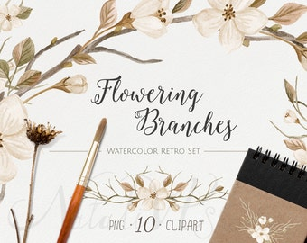Watercolor Retro set. Flowering branches. Digital Clipart