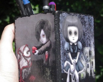 Wooden pen holder - Creepy kids - Hand decorated. Gothic style.
