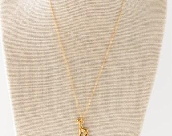 Golden Giraffe Pendant Necklace