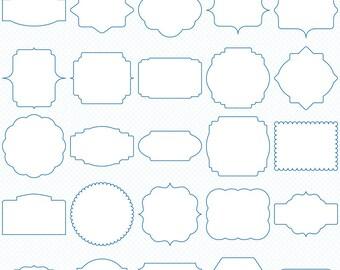 50 Blue Digital Frames, Classic Frames, Digital Clipart, Digital Download, Clipart Frames, Frames Clipart, Basic Frames, Scrapbooking frames