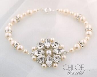 Wedding bracelet - crystal and pearl bridal bracelet - wedding jewelry - Chloe bracelet