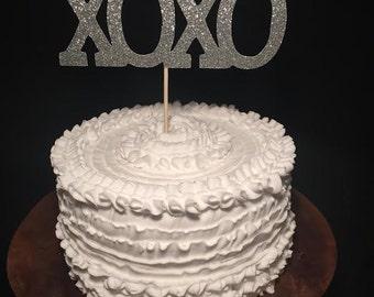 XOXO Glitter Cake Topper