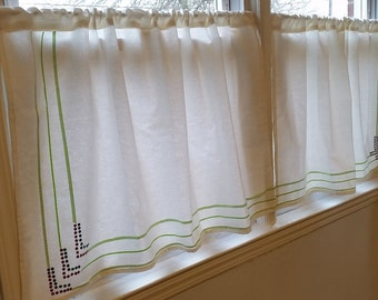 Kitchen Curtains, White Cafe Curtains, kitchen cafe curtains, Sequins and  ribbon lace panels.