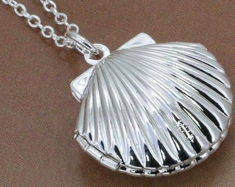 Clam Shell 925 Sterling Silver Necklace Locket