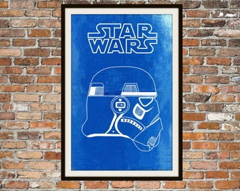 Star Wars Stormtrooper -  Blueprint Art of Stormtrooper Left View Technical Drawings Engineering Drawings Patent Blue Print Art Item 0096