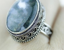 Size 8.5 African Moss Agate 925 S0LID (Nickel Free) Sterling Silver Vintage Setting Ring & FREE Worldwide Express Shipping r1817
