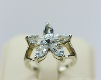 Size 7 FLOWER Shape AQUAMARINE (Nickel Free) 925 Sterling Silver Ring & Free Worldwide Express Shipping r171