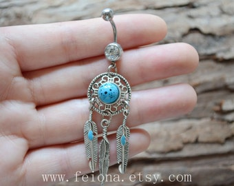 New Turquoise Leaf belly button ring, Leaf Navel Piercing, belly rings, Dream Catcher Belly Button Piercing, Dangle Belly jewelry