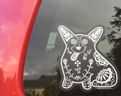Corgi Decal - Sugar Skull Corgi Decal - Corgi Sticker - Corgi Bumper Sticker - Corgi Laptop Sticker - Corgi Car Decal