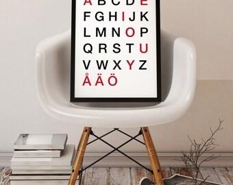 "Swedish Alphabet print, Typographic Wall Art, Scandinavian Print, Minimalist Art, Printable Art, Office Decor 24x36"", 8x10"", 50x70cm, A4"