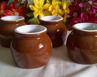 4 Hall Pottery Brown And White Bean Pots. Number 462 Hall Pottery Bean Pots.