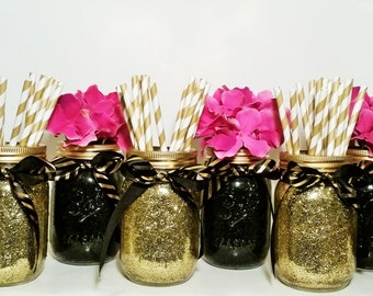Graduation Party Decorations, Wedding Centerpiece, Mason Jar Centerpiece, Gold Wedding Decor, Black and Gold Decor, Birthday Decor, Set of 6