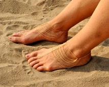 Gold Barefoot Sandals - Slave Anklet, Anklet Bracelet