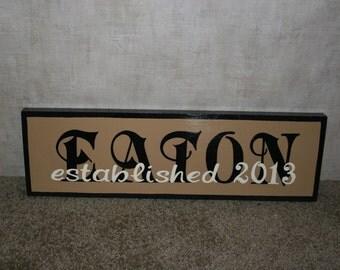 "Anniversary/Wedding  established ""year""  wood name signs"