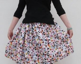 Lovely white Licorice allsorts print A-line skirt multi-size