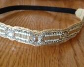Beaded Headband // Boho Style Headband // White & Sliver Hairband // Rhinestone  Headband