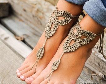 Crochet Barefoot sandals, Tan lace shoes, Barefoot sandal, Beach wedding, Destination wedding, Footless shoes, Bridesmaid shoes, Beach Shoes