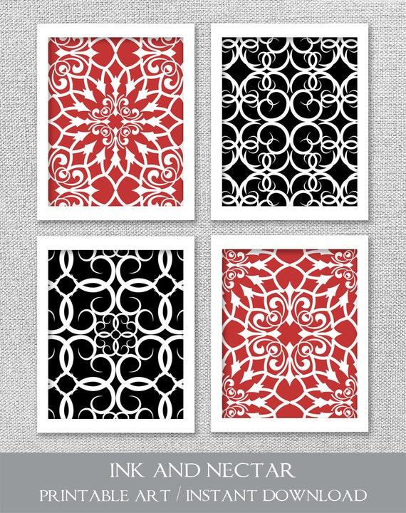 PRINTABLE Art Red Black White Art Printable Art Set Wall