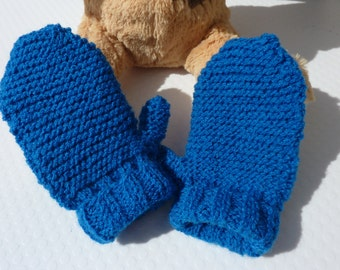 Blue mitten for children - Mitt - Babies - Wool - Warm - Winter - Soft - Mixed - UK - Cute - Little