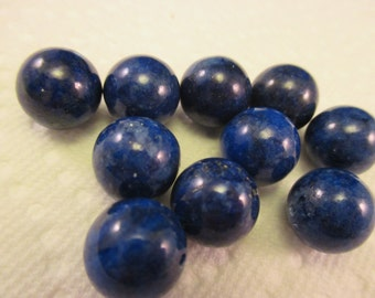 Lapis Coated Glass Half Drilled Beads Package of 10. Item:BC818506
